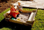 Wooden Square Sand Pit with built in Benches